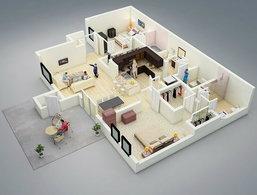26 แบบแปลนบ้าน/คอนโด ขนาด 2 ห้องนอนสวยๆ