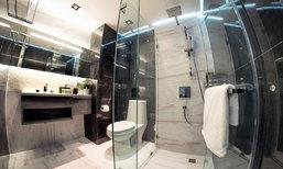 รีโนเวทแต่งห้องน้ำคอนโดเก่า ให้เป็นห้องน้ำโมเดิร์น ขาวดำสไตล์โรงแรม