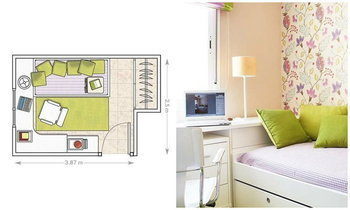 ห้องนอนขนาดเล็ก 3.8 x 2.5 เมตร แต่งจนสวย