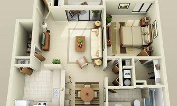 32 แบบแปลน บ้าน/อพาร์ทเมนท์ ขนาด 1 ห้องนอน ฟรี
