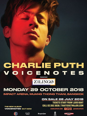 CHARLIE PUTH VOICENOTES WORLD TOUR 2018 LIVE IN BANGKOK PRESENTED BY ZILINGO