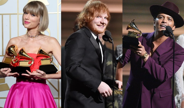 Taylor Swift, Ed Sheeran, Bruno Mars นำทีมรับรางวัล Grammy Awards 2016