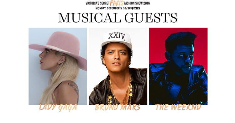 Lady Gaga, Bruno Mars, The Weeknd เตรียมขึ้นโชว์ Victoria's Secrets 2016