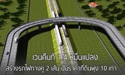 เวนคืนที่ 1.4 หมื่นแปลง! สร้างรถไฟทางคู่ 2 เส้น ปั่นราคาที่ดินพุ่ง 10 เท่า