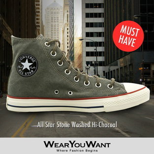 Converse All Star Stone Washed Hi-Chacoal