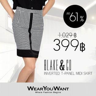 BLAKE & CO Inverted T-Panel Midi Skirt
