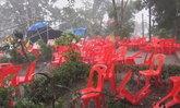 พายุถล่มสถานที่จัดงานงานแห่น้ำขึ้นโฮง ต.บ้านตึกบ้านพังเสียหาย 39 หลัง